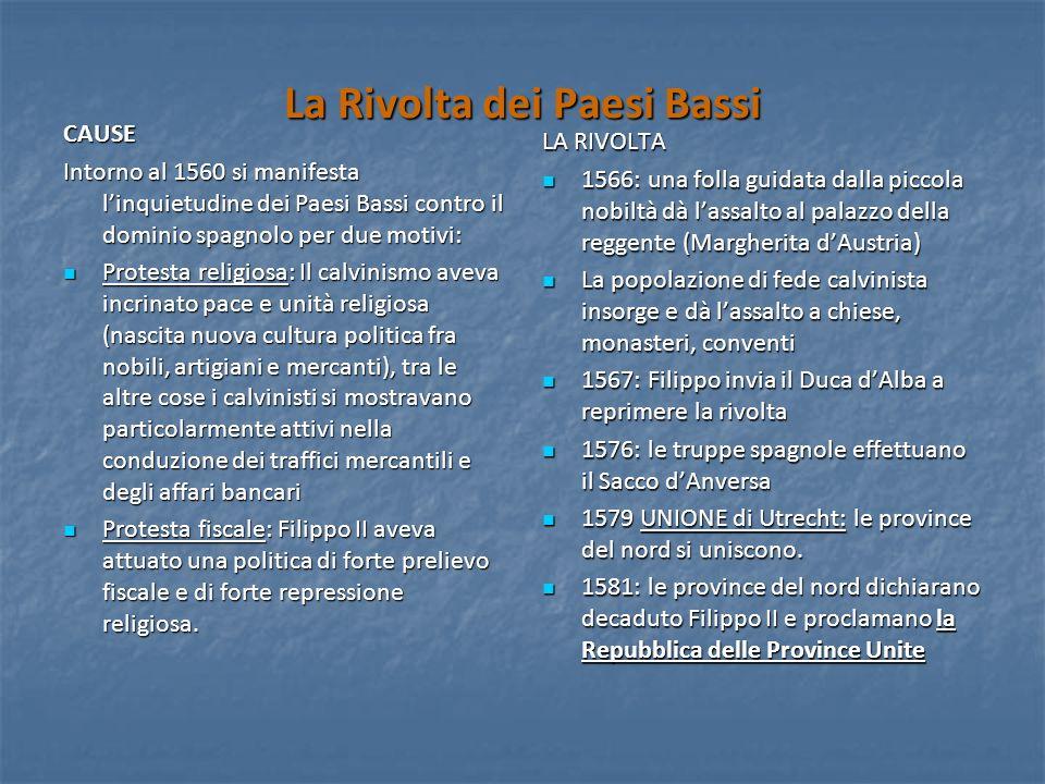 La Rivolta dei Paesi Bassi CAUSE Intorno al 1560 si manifesta linquietudine dei Paesi Bassi contro il dominio spagnolo per due motivi: Protesta religi