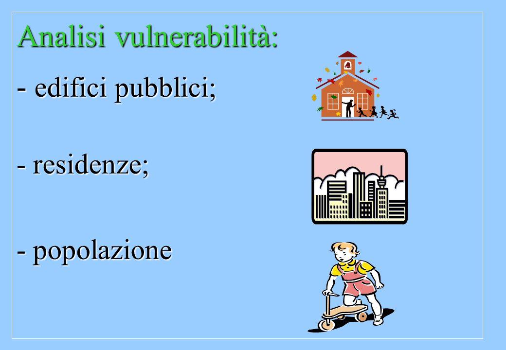 Analisi vulnerabilità: - edifici pubblici; - residenze; - popolazione