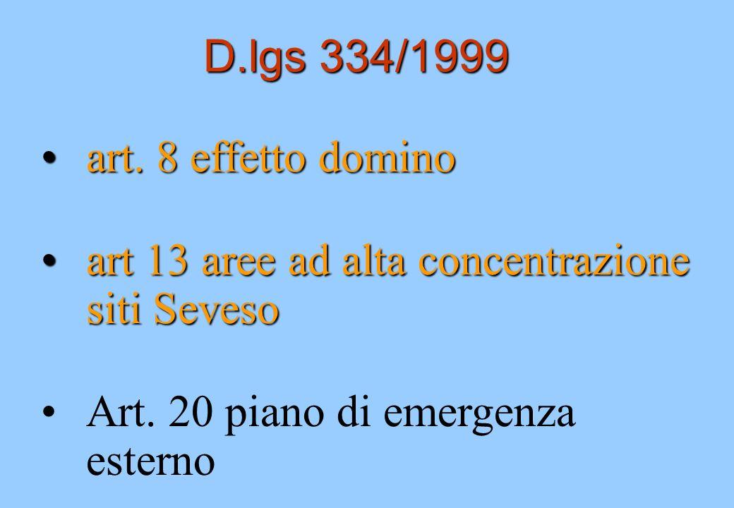 D.lgs 334/1999 art. 8 effetto dominoart. 8 effetto domino art 13 aree ad alta concentrazione siti Sevesoart 13 aree ad alta concentrazione siti Seveso
