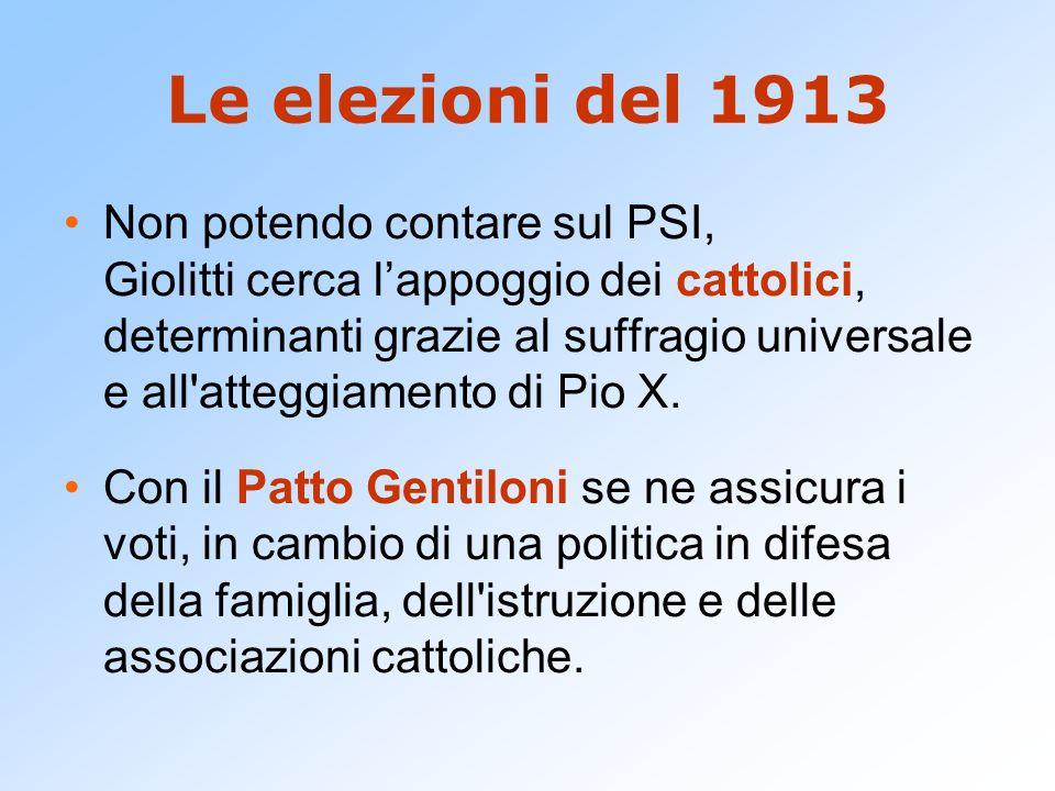 Le elezioni del 1913 Non potendo contare sul PSI, Giolitti cerca lappoggio dei cattolici, determinanti grazie al suffragio universale e all'atteggiame