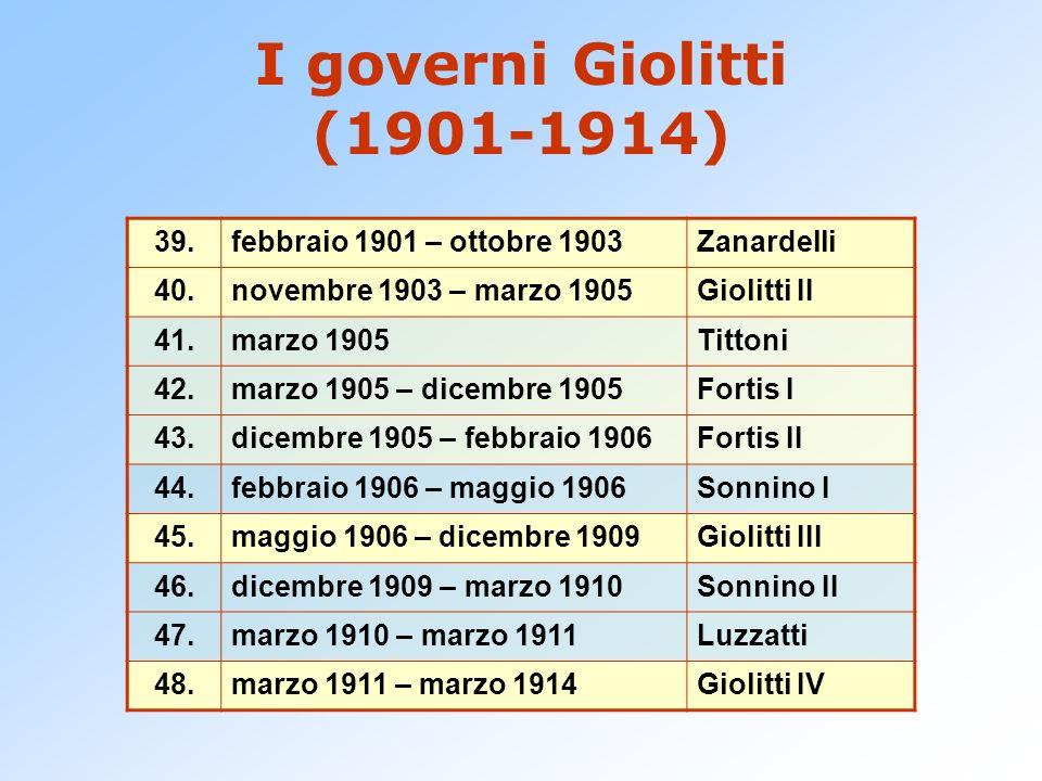 I governi Giolitti (1901-1914) 39.febbraio 1901 – ottobre 1903Zanardelli 40.novembre 1903 – marzo 1905Giolitti II 41.marzo 1905Tittoni 42.marzo 1905 –