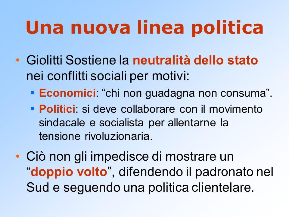 Una nuova linea politica Giolitti Sostiene la neutralità dello stato nei conflitti sociali per motivi: Economici: chi non guadagna non consuma. Politi