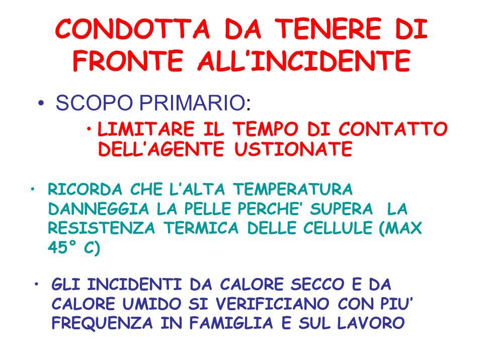 CONDOTTA DA TENERE DI FRONTE ALLINCIDENTE SCOPO PRIMARIO: LIMITARE IL TEMPO DI CONTATTO DELLAGENTE USTIONATE RICORDA CHE LALTA TEMPERATURA DANNEGGIA LA PELLE PERCHE SUPERA LA RESISTENZA TERMICA DELLE CELLULE (MAX 45° C) GLI INCIDENTI DA CALORE SECCO E DA CALORE UMIDO SI VERIFICIANO CON PIU FREQUENZA IN FAMIGLIA E SUL LAVORO
