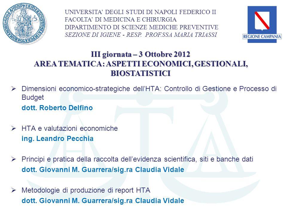 Dimensioni economico-strategiche dellHTA: Controllo di Gestione e Processo di Budget dott. Roberto Delfino HTA e valutazioni economiche ing. Leandro P