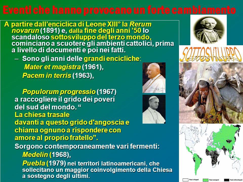 10 Eventi che hanno provocano un forte cambiamento A partire dallenciclica di Leone XIII° la Rerum novarun (1891) e, dalla fine degli anni 50 lo scand