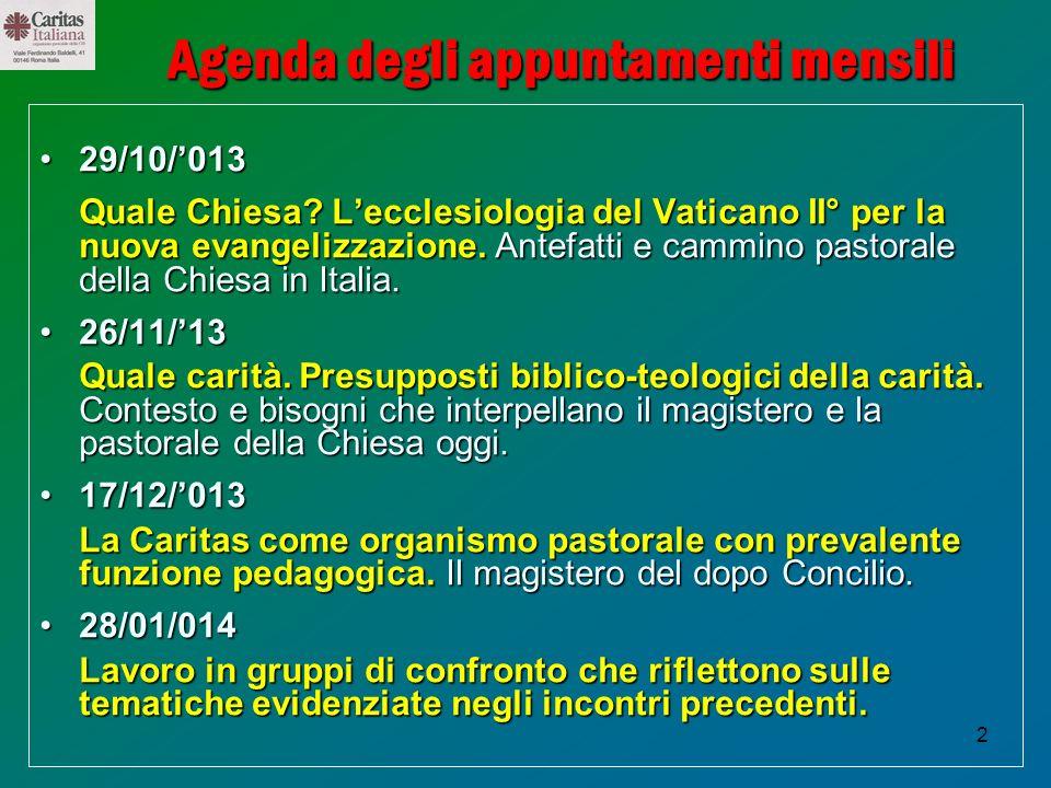 2 Agenda degli appuntamenti mensili 29/10/01329/10/013 Quale Chiesa? Lecclesiologia del Vaticano II° per la nuova evangelizzazione.Antefatti e cammino