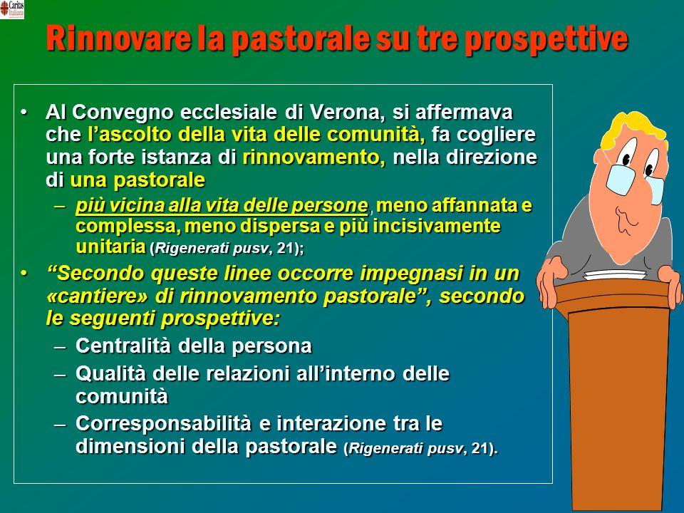 21 Rinnovare la pastorale su tre prospettive Al Convegno ecclesiale di Verona, si affermava che lascolto della vita delle comunità, fa cogliere una fo