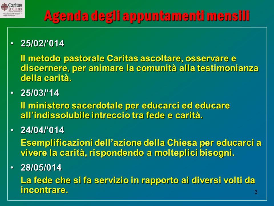 3 Agenda degli appuntamenti mensili 25/02/01425/02/014 Il metodo pastorale Caritas ascoltare, osservare e discernere, per animare la comunità alla tes