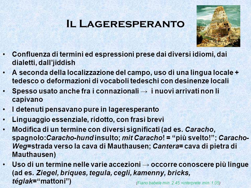 Il Lageresperanto Confluenza di termini ed espressioni prese dai diversi idiomi, dai dialetti, dalljiddish A seconda della localizzazione del campo, u