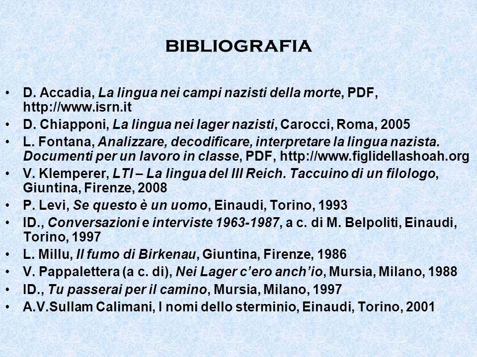 bibliografia D. Accadia, La lingua nei campi nazisti della morte, PDF, http://www.isrn.it D. Chiapponi, La lingua nei lager nazisti, Carocci, Roma, 20