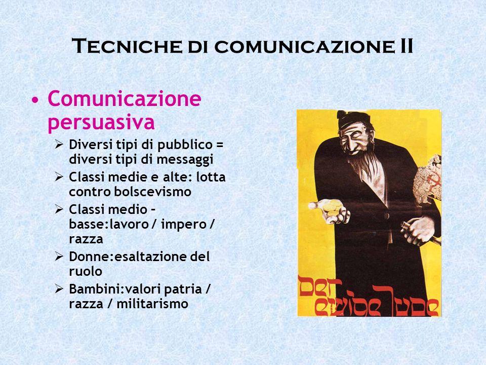 Tecniche di comunicazione II Comunicazione persuasiva Diversi tipi di pubblico = diversi tipi di messaggi Classi medie e alte: lotta contro bolscevism
