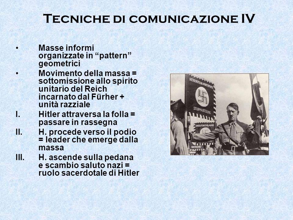 Tecniche di comunicazione IV Masse informi organizzate in pattern geometrici Movimento della massa = sottomissione allo spirito unitario del Reich inc