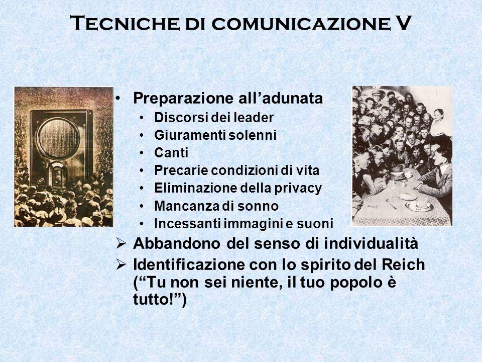Tecniche di comunicazione V Preparazione alladunata Discorsi dei leader Giuramenti solenni Canti Precarie condizioni di vita Eliminazione della privac