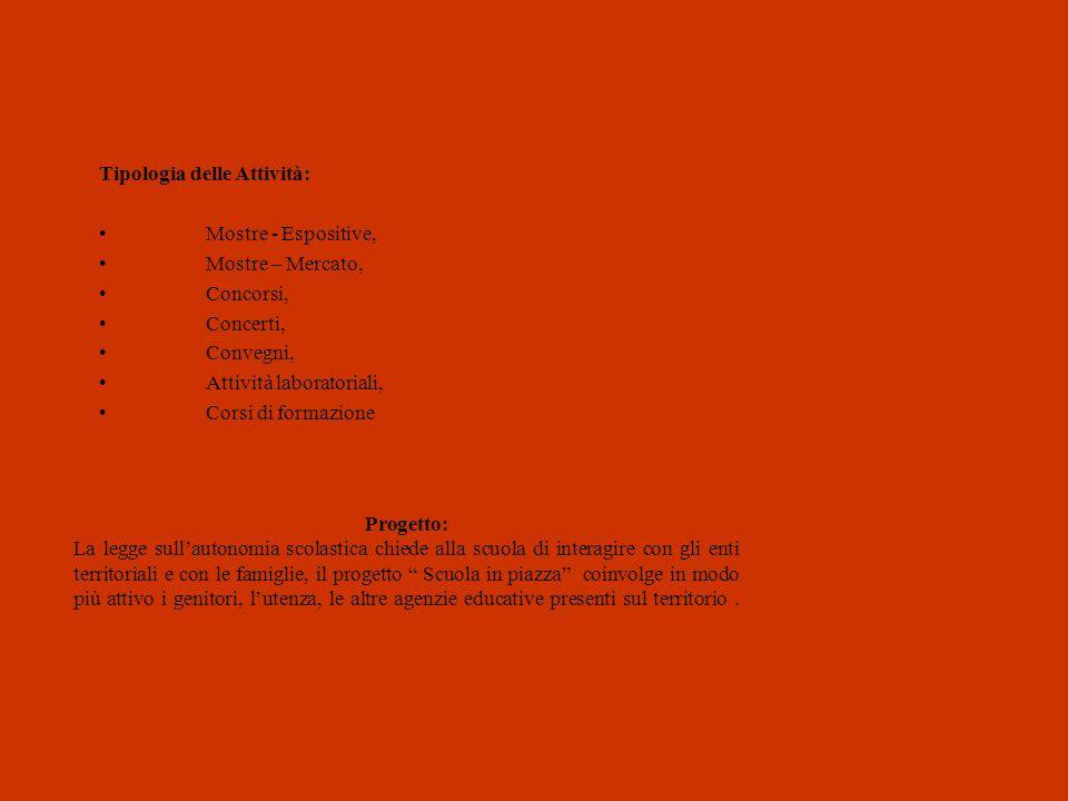 Tipologia delle Attività: Mostre - Espositive, Mostre – Mercato, Concorsi, Concerti, Convegni, Attività laboratoriali, Corsi di formazione Progetto: L