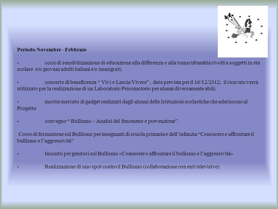 Periodo Novembre - Febbraio -corsi di sensibilizzazione di educazione alla differenza e alla transculturalità rivolti a soggetti in età scolare e/o gi