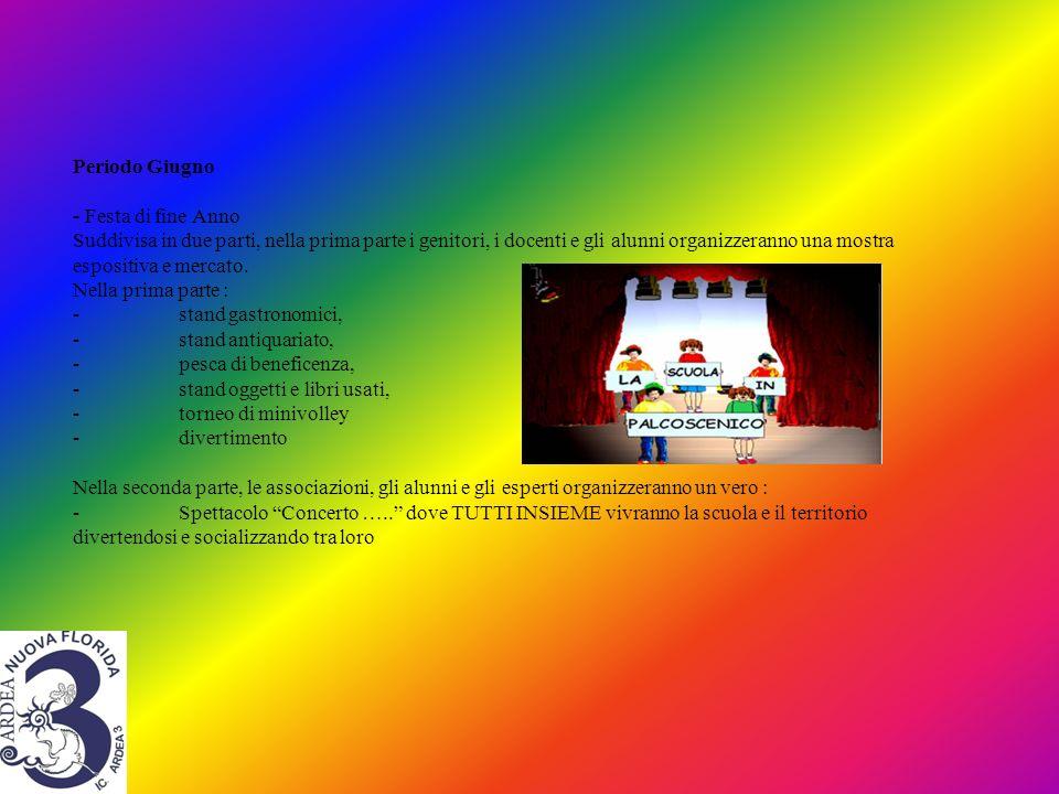 Periodo Giugno - Festa di fine Anno Suddivisa in due parti, nella prima parte i genitori, i docenti e gli alunni organizzeranno una mostra espositiva