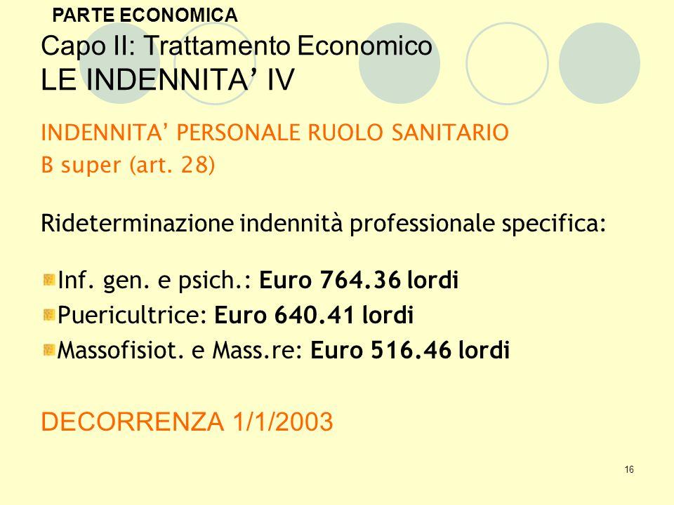 16 Capo II: Trattamento Economico LE INDENNITA IV INDENNITA PERSONALE RUOLO SANITARIO B super (art.