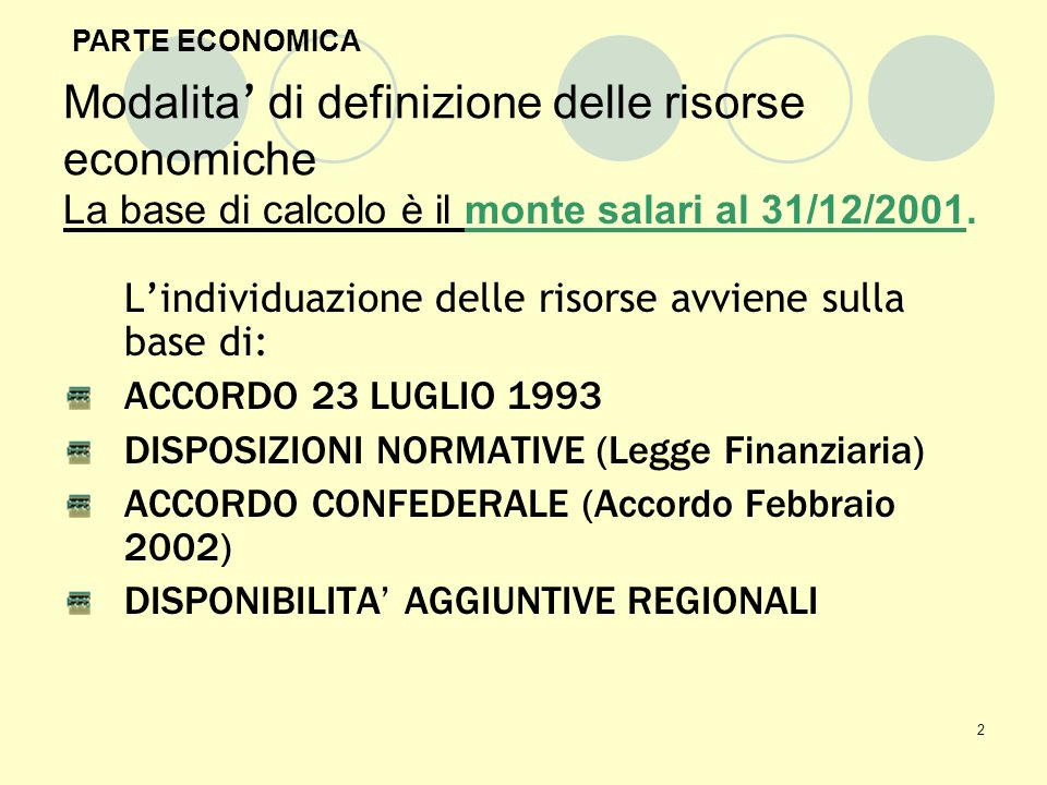 2 Modalita di definizione delle risorse economiche La base di calcolo è il monte salari al 31/12/2001.