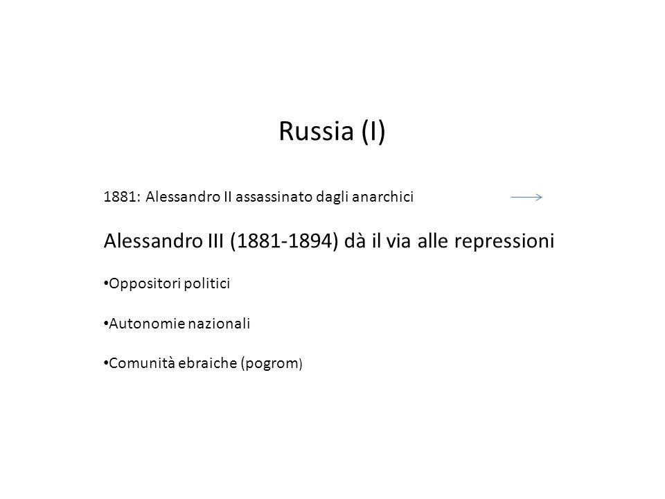 Russia (I) 1881: Alessandro II assassinato dagli anarchici Alessandro III (1881-1894) dà il via alle repressioni Oppositori politici Autonomie nazionali Comunità ebraiche (pogrom )