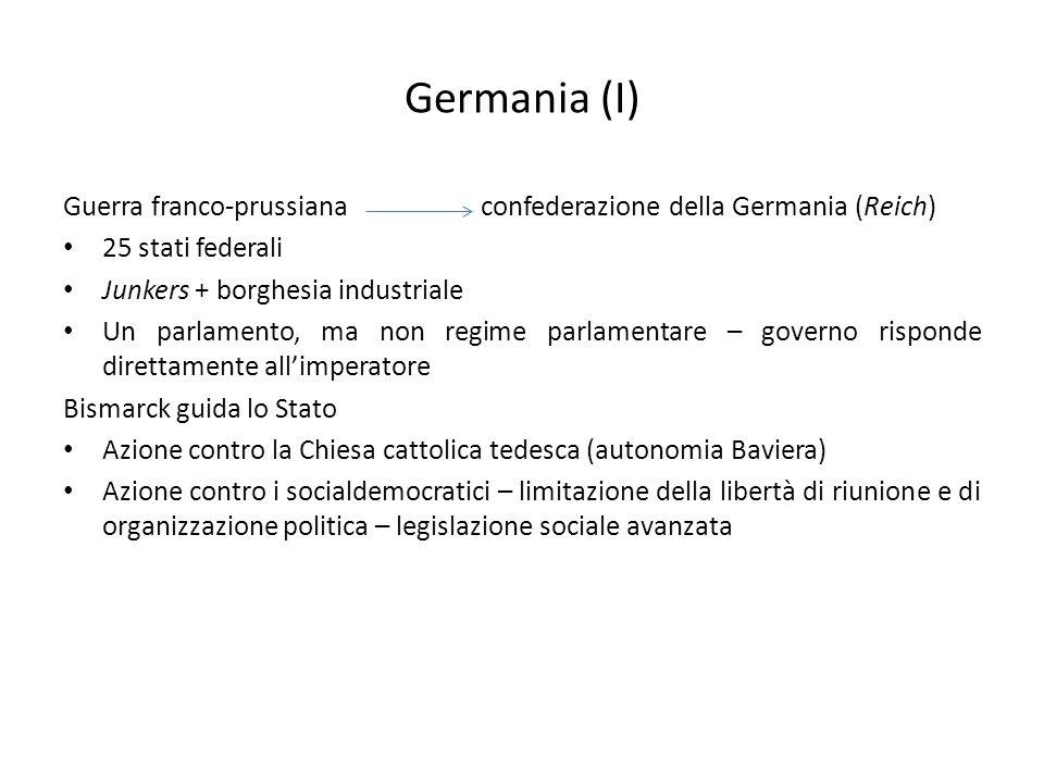 Germania (I) Guerra franco-prussiana confederazione della Germania (Reich) 25 stati federali Junkers + borghesia industriale Un parlamento, ma non reg