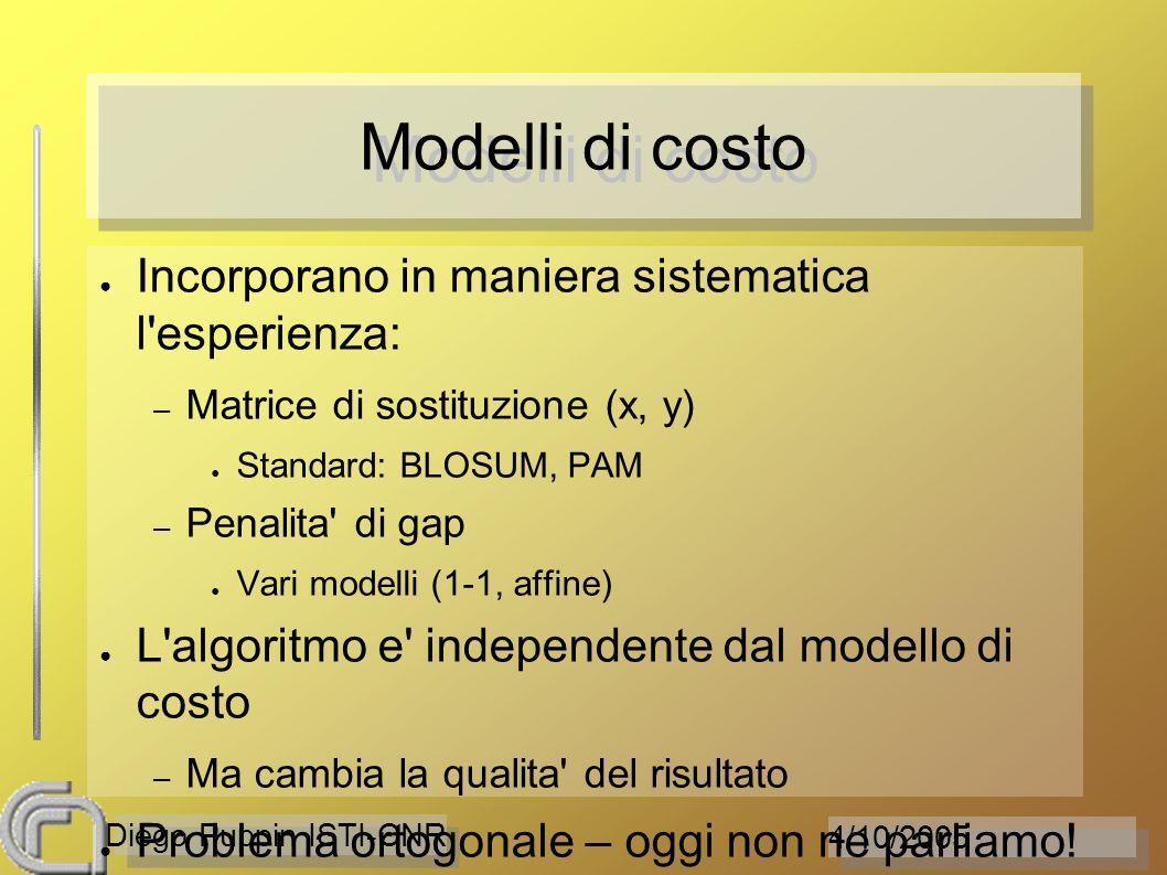 4/10/2005 Diego Puppin ISTI-CNR Modelli di costo Incorporano in maniera sistematica l'esperienza: – Matrice di sostituzione (x, y) Standard: BLOSUM, P