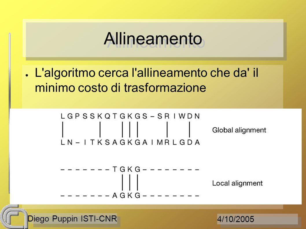 4/10/2005 Diego Puppin ISTI-CNR Allineamento L'algoritmo cerca l'allineamento che da' il minimo costo di trasformazione