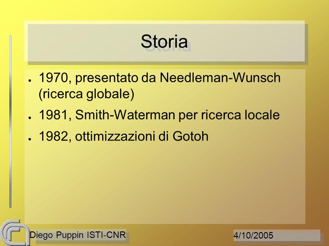 4/10/2005 Diego Puppin ISTI-CNR Storia 1970, presentato da Needleman-Wunsch (ricerca globale) 1981, Smith-Waterman per ricerca locale 1982, ottimizzaz