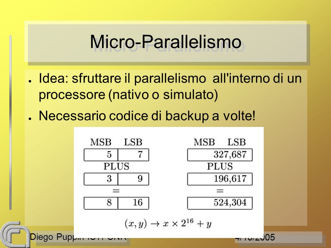 4/10/2005 Diego Puppin ISTI-CNR Micro-Parallelismo Idea: sfruttare il parallelismo all'interno di un processore (nativo o simulato) Necessario codice
