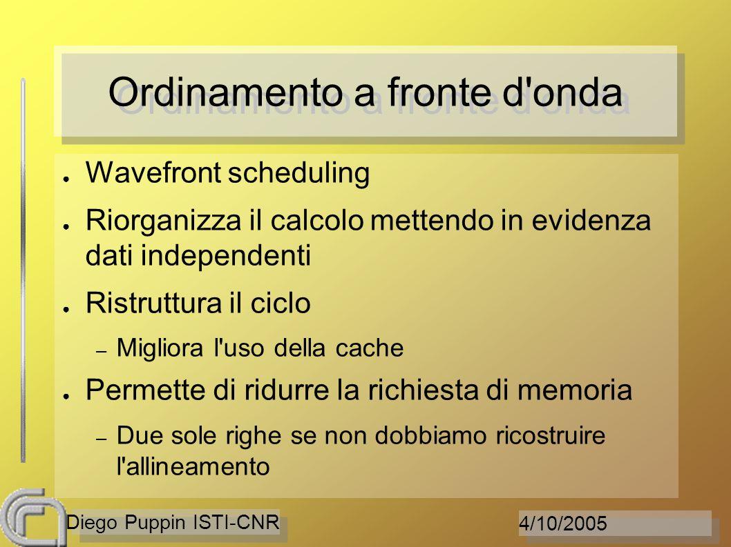 4/10/2005 Diego Puppin ISTI-CNR Ordinamento a fronte d'onda Wavefront scheduling Riorganizza il calcolo mettendo in evidenza dati independenti Ristrut