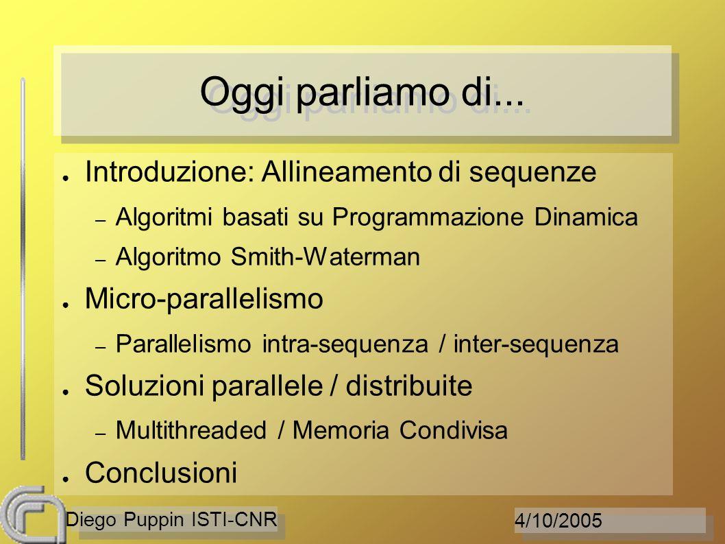 4/10/2005 Diego Puppin ISTI-CNR Oggi parliamo di... Introduzione: Allineamento di sequenze – Algoritmi basati su Programmazione Dinamica – Algoritmo S