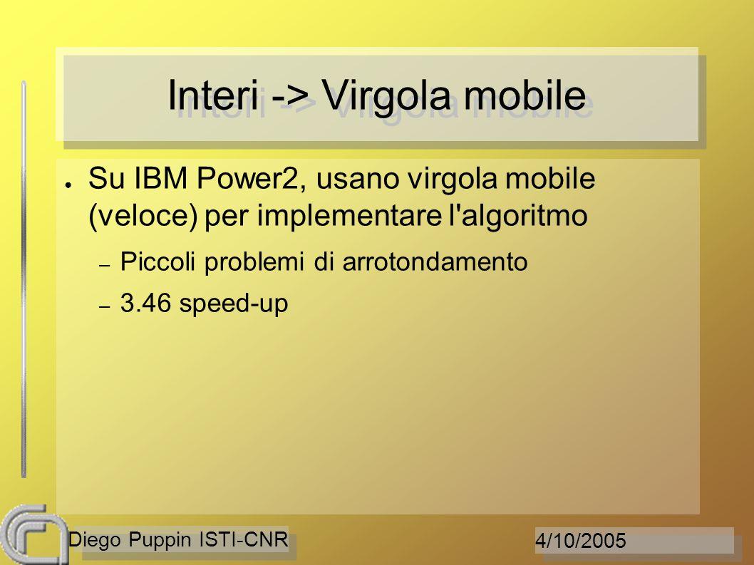 4/10/2005 Diego Puppin ISTI-CNR Interi -> Virgola mobile Su IBM Power2, usano virgola mobile (veloce) per implementare l'algoritmo – Piccoli problemi