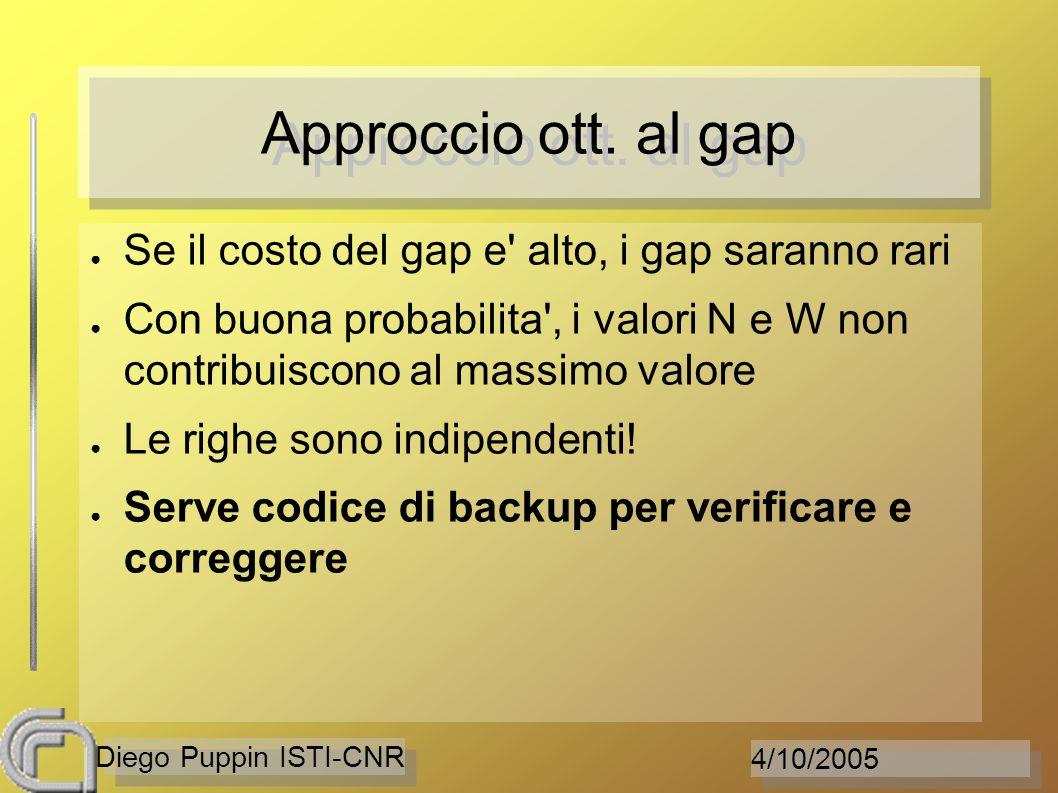 4/10/2005 Diego Puppin ISTI-CNR Approccio ott. al gap Se il costo del gap e' alto, i gap saranno rari Con buona probabilita', i valori N e W non contr