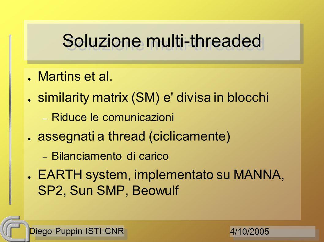 4/10/2005 Diego Puppin ISTI-CNR Soluzione multi-threaded Martins et al. similarity matrix (SM) e' divisa in blocchi – Riduce le comunicazioni assegnat