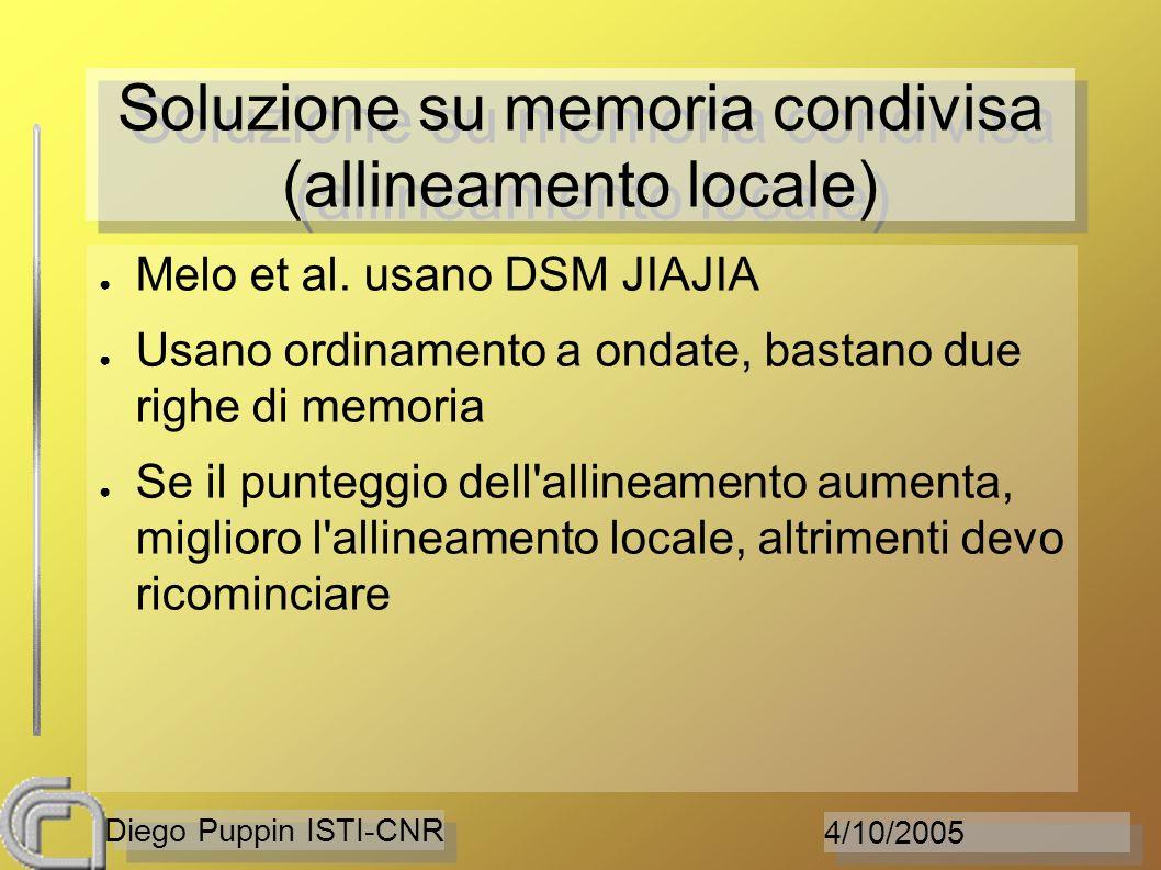 4/10/2005 Diego Puppin ISTI-CNR Soluzione su memoria condivisa (allineamento locale) Melo et al. usano DSM JIAJIA Usano ordinamento a ondate, bastano
