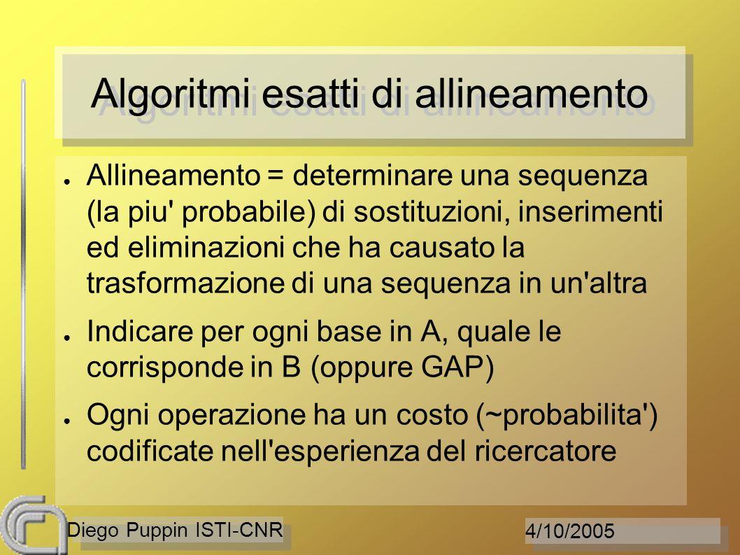 4/10/2005 Diego Puppin ISTI-CNR Algoritmi esatti di allineamento Allineamento = determinare una sequenza (la piu probabile) di sostituzioni, inserimenti ed eliminazioni che ha causato la trasformazione di una sequenza in un altra Indicare per ogni base in A, quale le corrisponde in B (oppure GAP) Ogni operazione ha un costo (~probabilita ) codificate nell esperienza del ricercatore