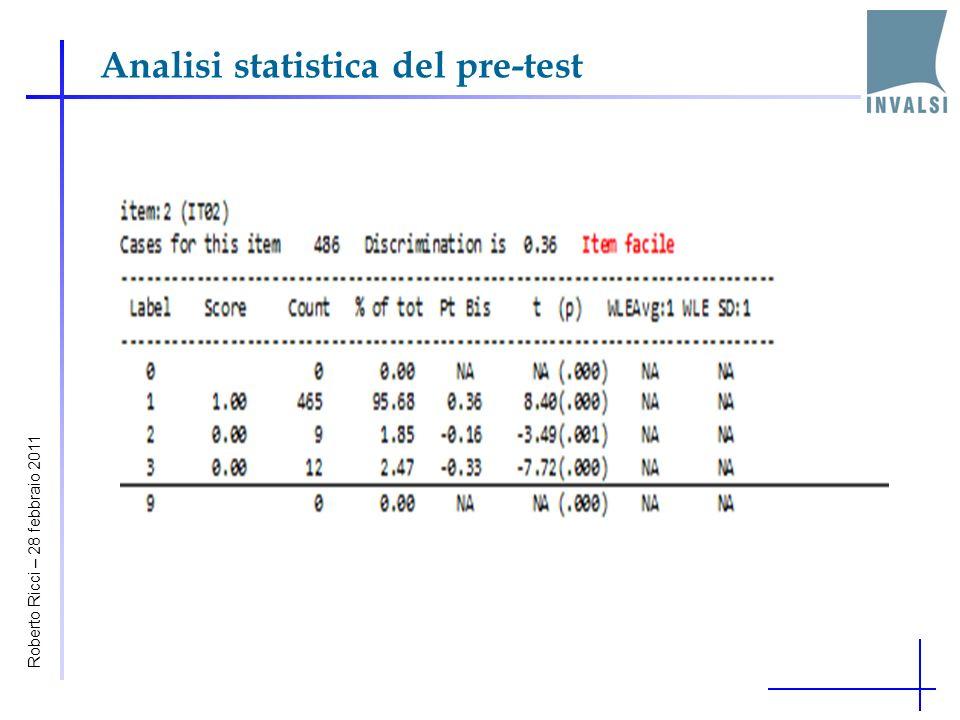 Analisi statistica del pre-test Teoria classica dei test Item Response Theory Roberto Ricci – 28 febbraio 2011