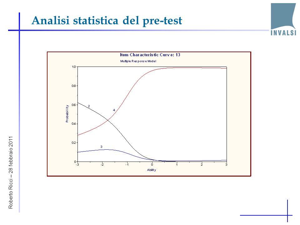 Analisi statistica del pre-test Roberto Ricci – 28 febbraio 2011