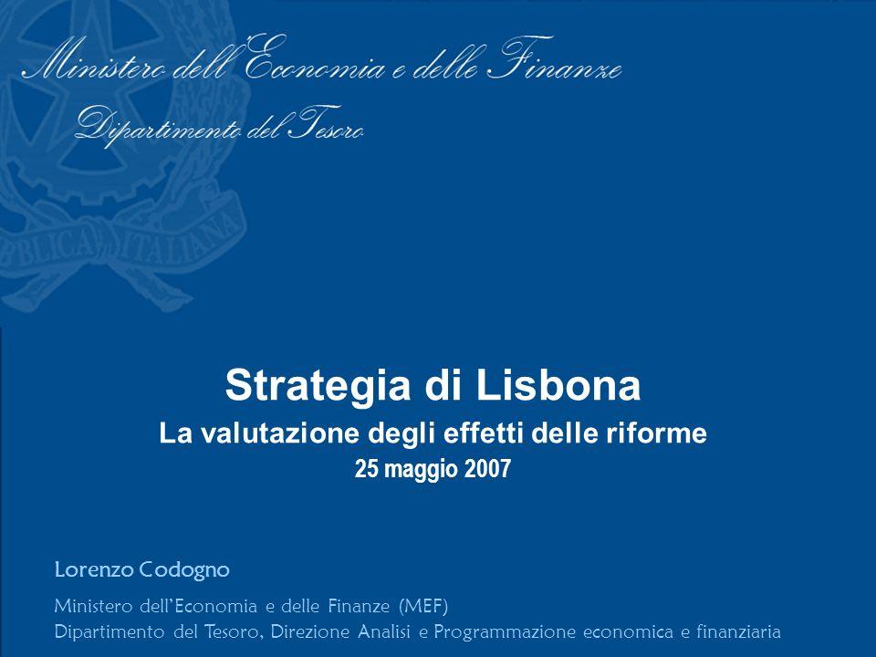 Strategia di Lisbona La valutazione degli effetti delle riforme 25 maggio 2007 Lorenzo Codogno Ministero dellEconomia e delle Finanze (MEF) Dipartimento del Tesoro, Direzione Analisi e Programmazione economica e finanziaria