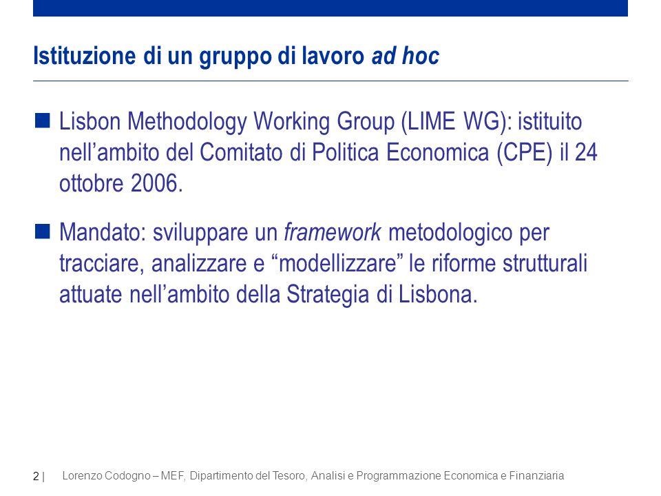 2 | Lorenzo Codogno – MEF, Dipartimento del Tesoro, Analisi e Programmazione Economica e Finanziaria nLisbon Methodology Working Group (LIME WG): istituito nellambito del Comitato di Politica Economica (CPE) il 24 ottobre 2006.