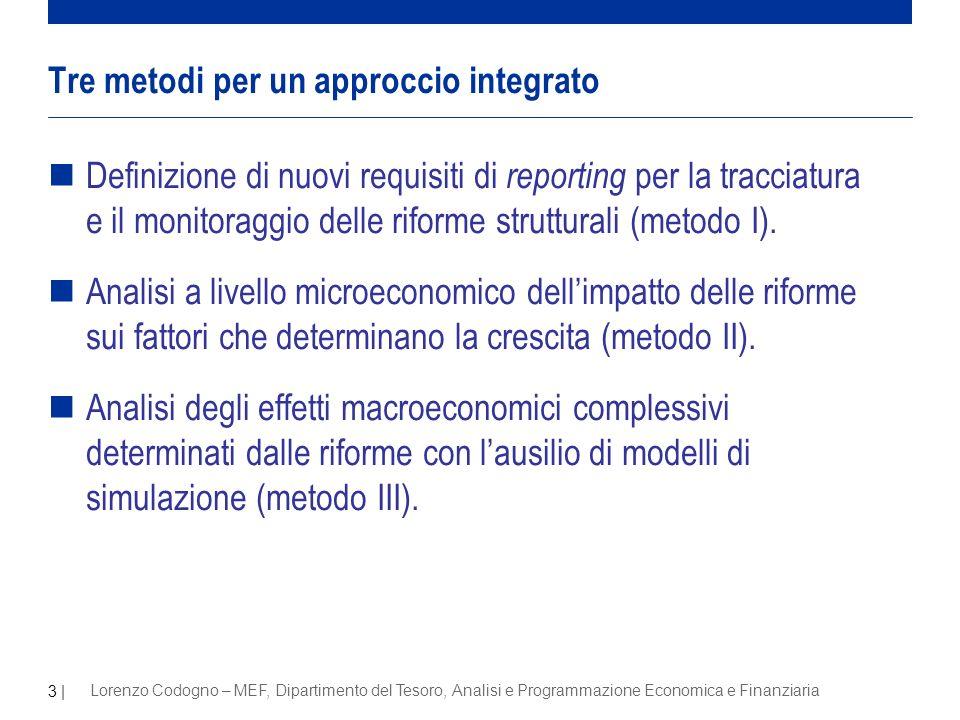 3 | Lorenzo Codogno – MEF, Dipartimento del Tesoro, Analisi e Programmazione Economica e Finanziaria nDefinizione di nuovi requisiti di reporting per la tracciatura e il monitoraggio delle riforme strutturali (metodo I).