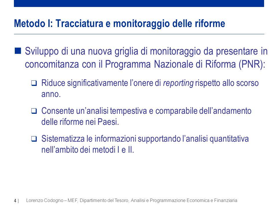 4 | Lorenzo Codogno – MEF, Dipartimento del Tesoro, Analisi e Programmazione Economica e Finanziaria nSviluppo di una nuova griglia di monitoraggio da presentare in concomitanza con il Programma Nazionale di Riforma (PNR): Riduce significativamente lonere di reporting rispetto allo scorso anno.