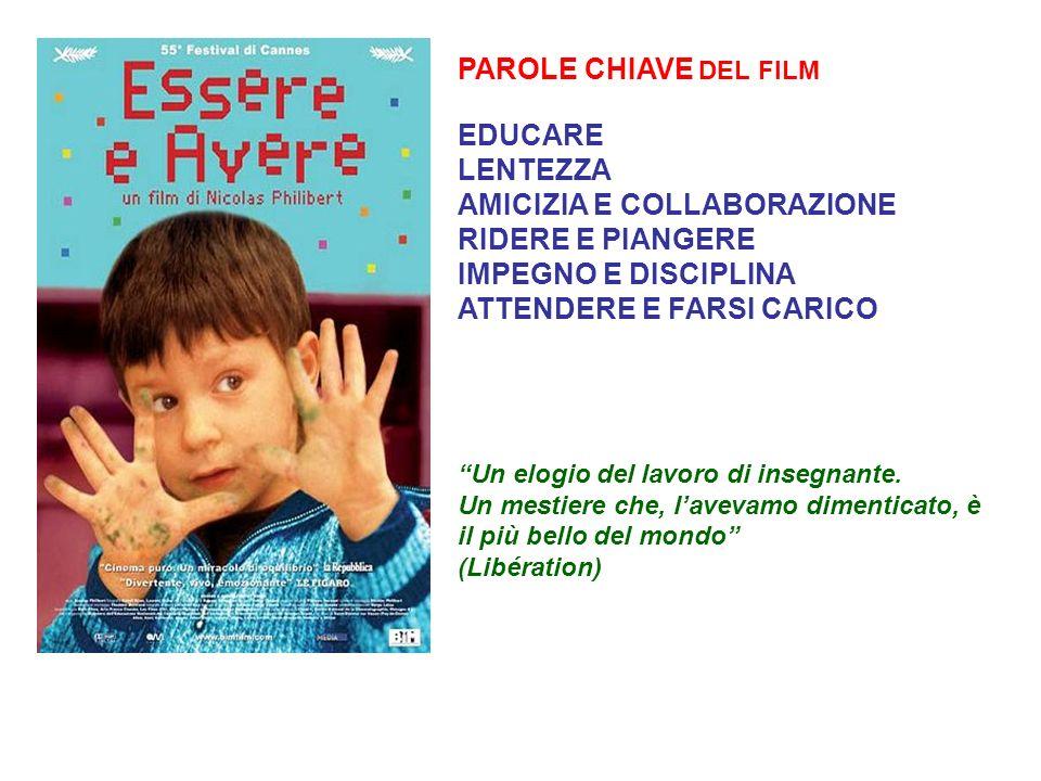 PAROLE CHIAVE DEL FILM EDUCARE LENTEZZA AMICIZIA E COLLABORAZIONE RIDERE E PIANGERE IMPEGNO E DISCIPLINA ATTENDERE E FARSI CARICO Un elogio del lavoro di insegnante.