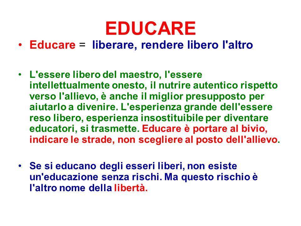 EDUCARE Educare = liberare, rendere libero l altro L essere libero del maestro, l essere intellettualmente onesto, il nutrire autentico rispetto verso l allievo, è anche il miglior presupposto per aiutarlo a divenire.