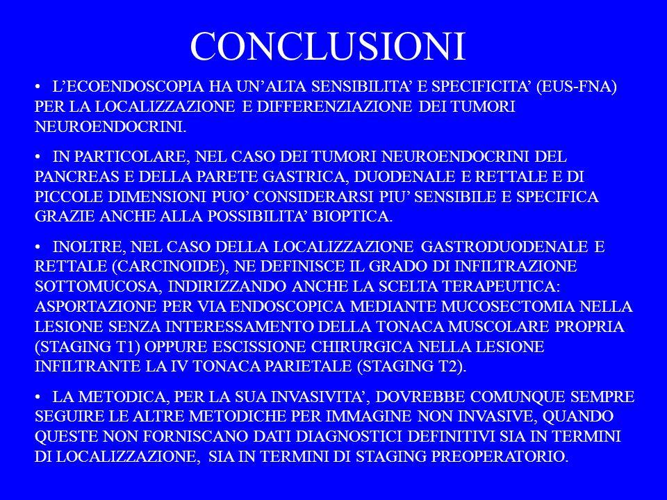 CONCLUSIONI LECOENDOSCOPIA HA UNALTA SENSIBILITA E SPECIFICITA (EUS-FNA) PER LA LOCALIZZAZIONE E DIFFERENZIAZIONE DEI TUMORI NEUROENDOCRINI. IN PARTIC