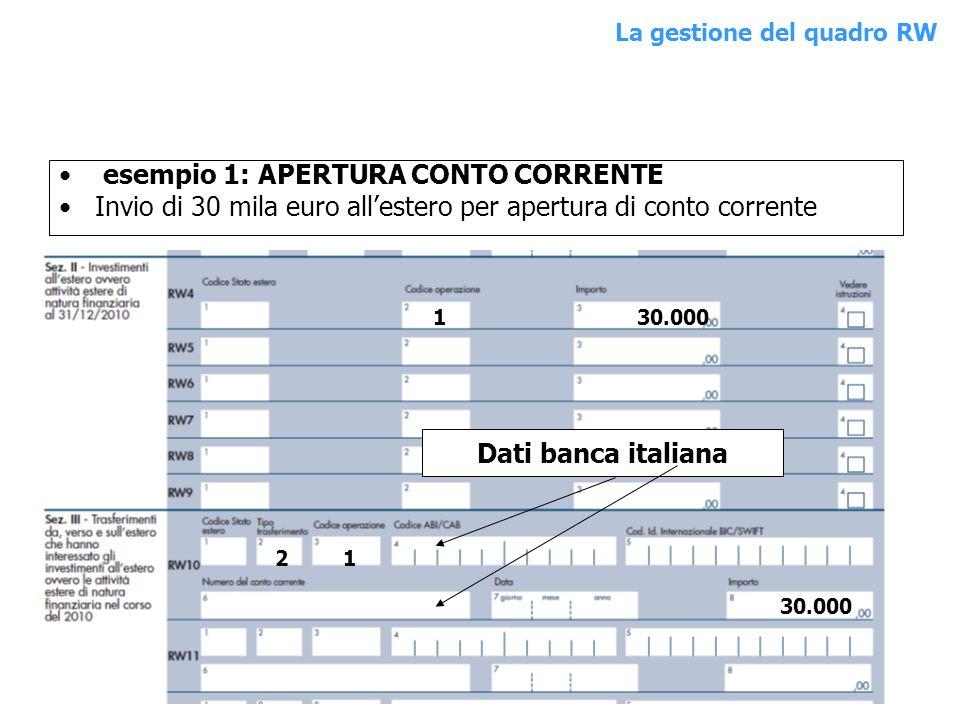 esempio 1: APERTURA CONTO CORRENTE Invio di 30 mila euro allestero per apertura di conto corrente 130.000 Dati banca italiana 2 1 30.000 QUADRO RWLa g