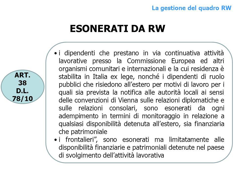 ART. 38 D.L. 78/10 i dipendenti che prestano in via continuativa attività lavorative presso la Commissione Europea ed altri organismi comunitari e int