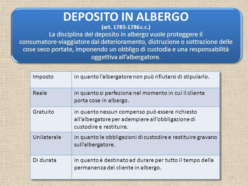 DEPOSITO IN ALBERGO (art. 1783-1786 c.c.) La disciplina del deposito in albergo vuole proteggere il consumatore-viaggiatore dal deterioramento, distru