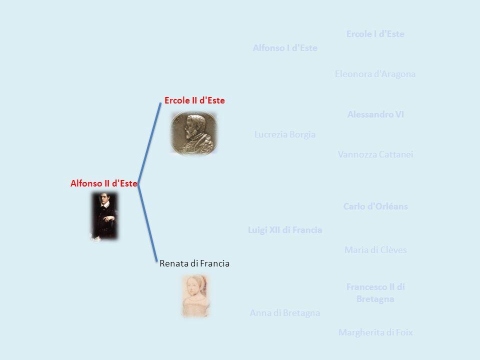 Alfonso II d'Este Ercole II d'Este Alfonso I d'Este Ercole I d'Este Eleonora d'Aragona Lucrezia Borgia Alessandro VI Vannozza Cattanei Renata di Franc