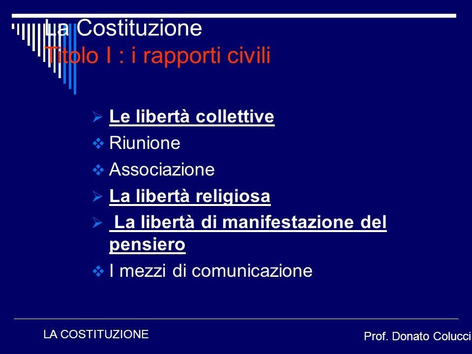 Le libertà collettive Riunione Associazione La libertà religiosa La libertà di manifestazione del pensiero I mezzi di comunicazione La Costituzione Ti