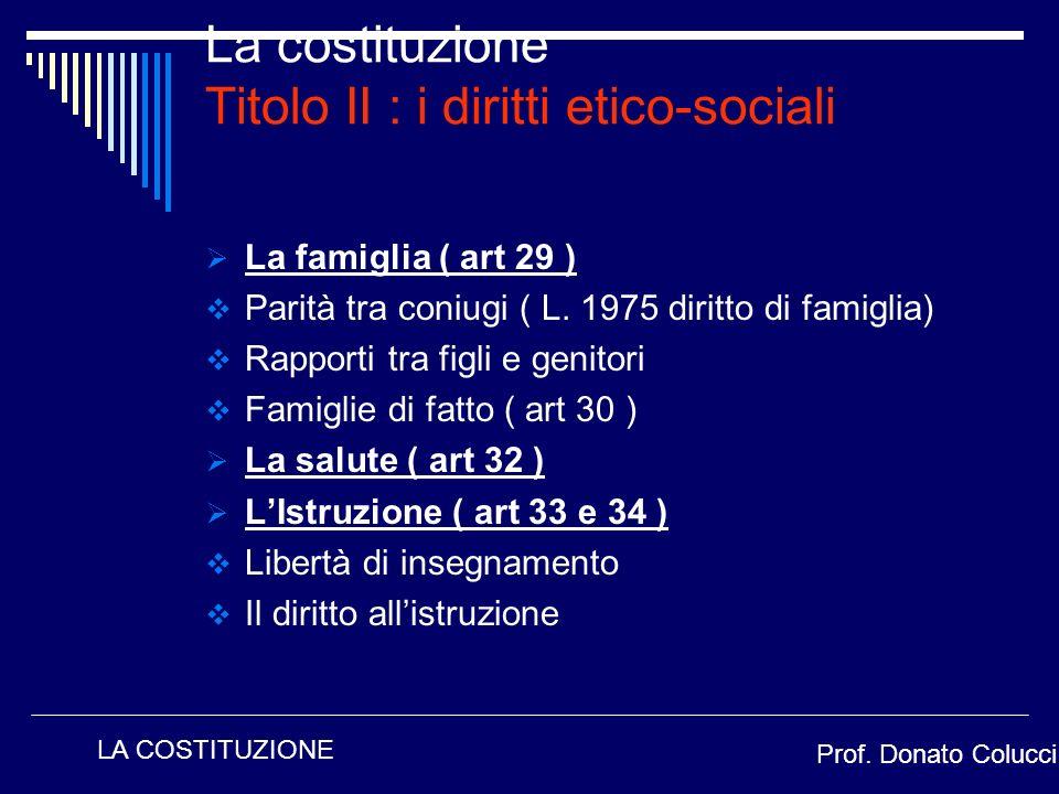 La famiglia ( art 29 ) Parità tra coniugi ( L. 1975 diritto di famiglia) Rapporti tra figli e genitori Famiglie di fatto ( art 30 ) La salute ( art 32